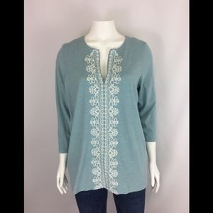 J. Jill Embroidered Front 3/4 Sleeve Tunic Top